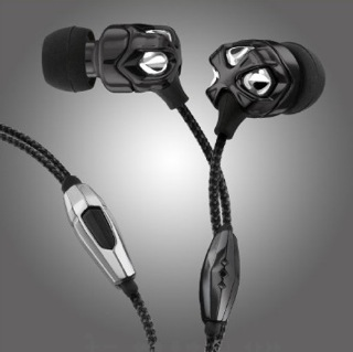 Vibe II headphones are made of black metal and fabric cord. They have a separate remote and a microphone attached to the cord, both made of steel