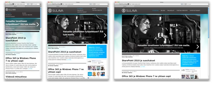 Sulava.com side adapts to window size from about 300 pixels to 1000 pixels